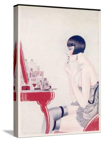 A Twenties Girl at Her Dressing Table Adds a Final Touch of Lipstick--Stretched Canvas Print
