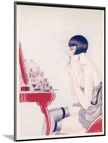 A Twenties Girl at Her Dressing Table Adds a Final Touch of Lipstick--Mounted Giclee Print