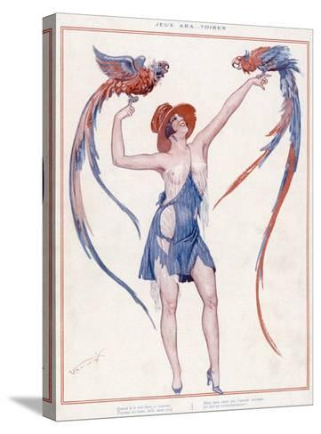 A Scantily Dressed Woman Displays Two Rather Noisy Looking Parrots--Stretched Canvas Print
