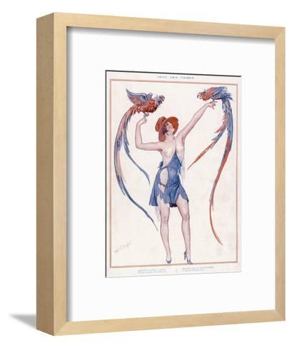 A Scantily Dressed Woman Displays Two Rather Noisy Looking Parrots--Framed Art Print
