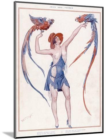 A Scantily Dressed Woman Displays Two Rather Noisy Looking Parrots--Mounted Giclee Print