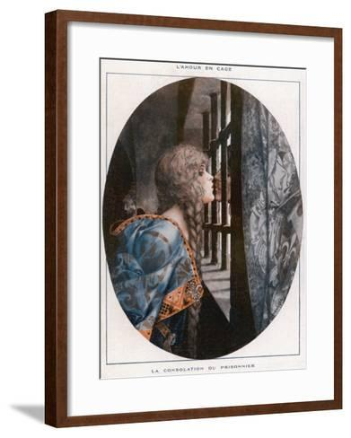 An Anonymous Prisoner Is Consoled with a Kiss from a Beautiful Woman--Framed Art Print
