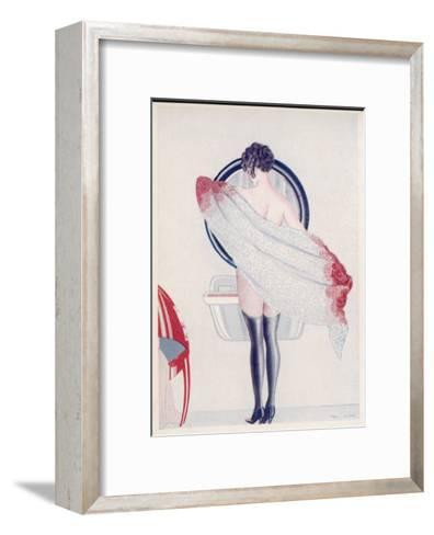 A Woman Drying Herself in Front of the Bathroom Mirror--Framed Art Print