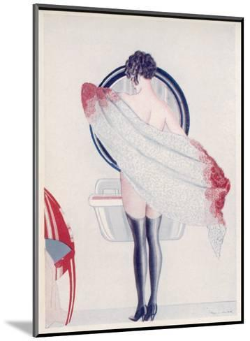 A Woman Drying Herself in Front of the Bathroom Mirror--Mounted Giclee Print
