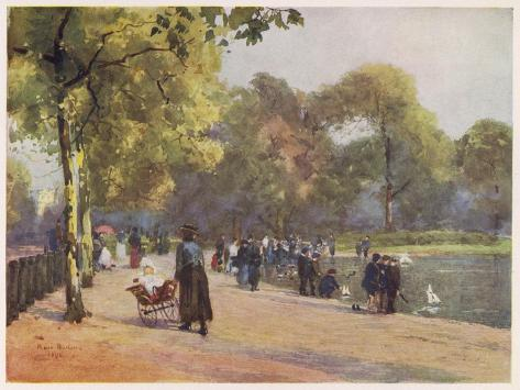A Nanny Watches Children Play by the Serpentine, Kensington Gardens--Stretched Canvas Print