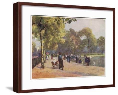 A Nanny Watches Children Play by the Serpentine, Kensington Gardens--Framed Art Print