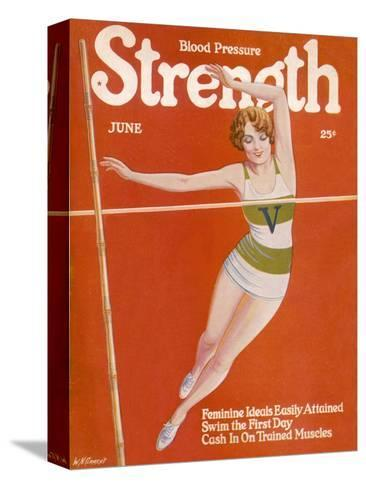 An Elegant Woman Soars Towards the Bar During a Pole Vault--Stretched Canvas Print