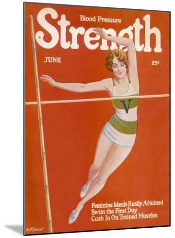 An Elegant Woman Soars Towards the Bar During a Pole Vault--Mounted Giclee Print
