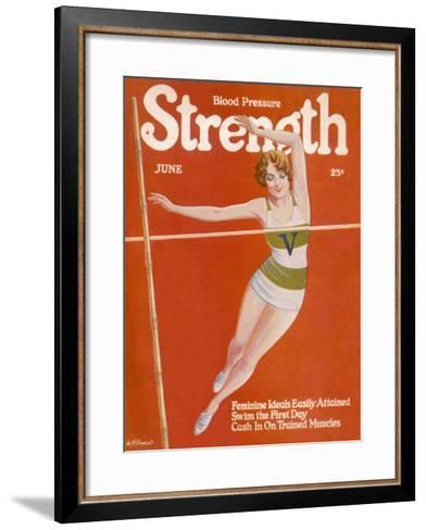 An Elegant Woman Soars Towards the Bar During a Pole Vault--Framed Art Print
