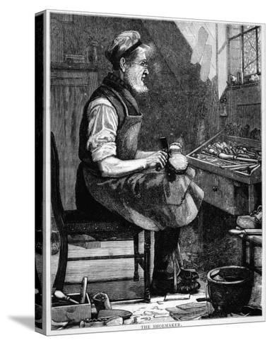 A Victorian Shoemaker in His Workshop--Stretched Canvas Print