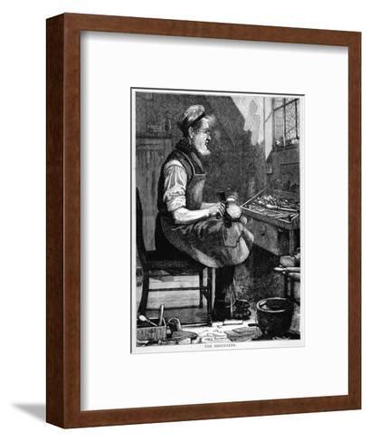 A Victorian Shoemaker in His Workshop--Framed Art Print