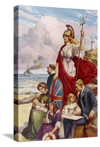 Britannia Guards Our Coasts, Protecting a Typical English Family--Stretched Canvas Print
