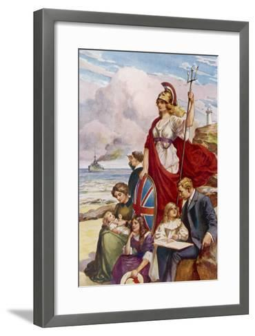 Britannia Guards Our Coasts, Protecting a Typical English Family--Framed Art Print
