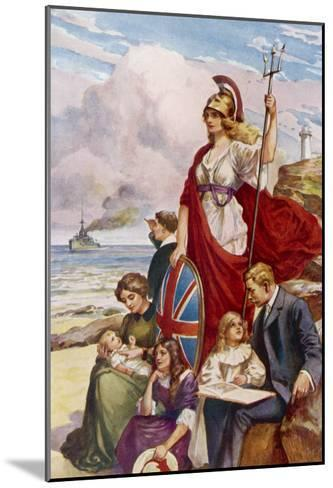 Britannia Guards Our Coasts, Protecting a Typical English Family--Mounted Giclee Print