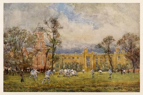 At Rugby School the Rugby Game as it Is Played at Rugby School--Stretched Canvas Print