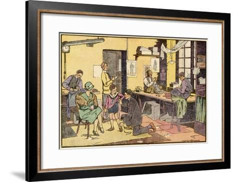 Boy at Tailor's Shop--Framed Art Print