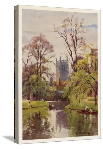 Cambridge: the Backs, with the Tower of St John's College in the Distance--Stretched Canvas Print