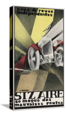Art Deco Inspired Poster for the Sizaire Car with its Headlamps Blazing--Stretched Canvas Print