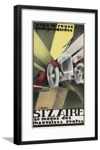 Art Deco Inspired Poster for the Sizaire Car with its Headlamps Blazing--Framed Art Print