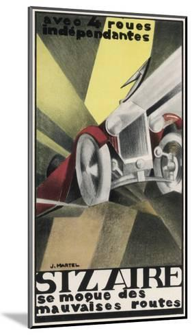 Art Deco Inspired Poster for the Sizaire Car with its Headlamps Blazing--Mounted Giclee Print