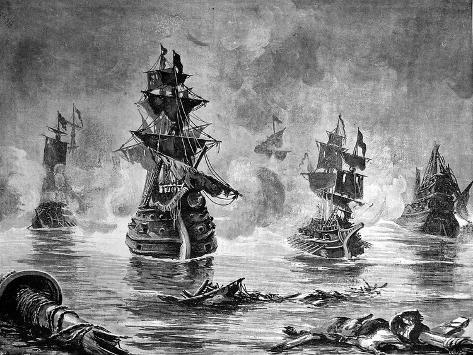 Battle Between the English Fleet and Spanish Armada, 1588--Stretched Canvas Print