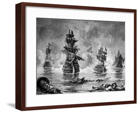 Battle Between the English Fleet and Spanish Armada, 1588--Framed Art Print
