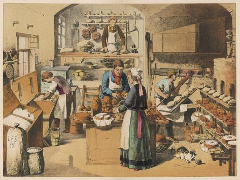 Busy French Bakery--Stretched Canvas Print