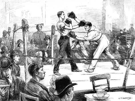 Boxing Match at a Men's Club, London, 1889--Stretched Canvas Print