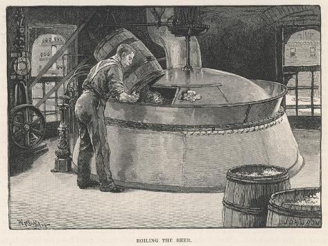 Boiling the Beer in an American Brewery--Stretched Canvas Print