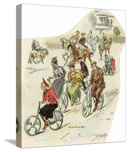 Brighton, Sussex: Men and Women Riding Horses and Cycling in King's Road--Stretched Canvas Print