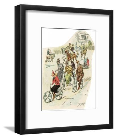 Brighton, Sussex: Men and Women Riding Horses and Cycling in King's Road--Framed Art Print