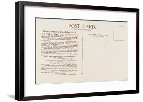 Captain Robert Falcon Scott - Fry's Cocoa Advertisement (Reverse)--Framed Art Print