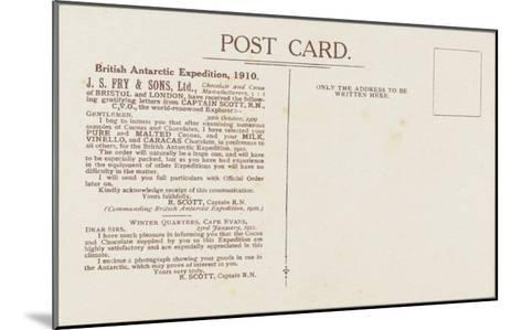 Captain Robert Falcon Scott - Fry's Cocoa Advertisement (Reverse)--Mounted Giclee Print