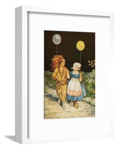 Children's Party American Indian and Dutch Girl--Framed Art Print