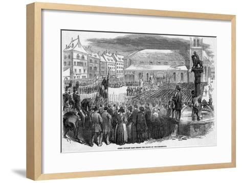 Catholic Troops of the Sonderbund Celebrate Mass before Going into Battle--Framed Art Print