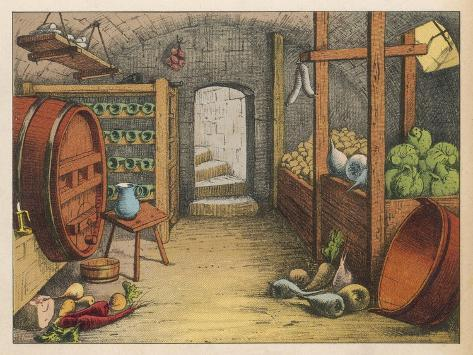 Cellar with Vegetables, Wine Racks and Beer Barrel--Stretched Canvas Print