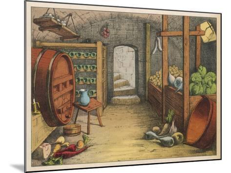 Cellar with Vegetables, Wine Racks and Beer Barrel--Mounted Giclee Print