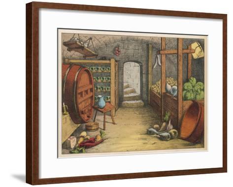 Cellar with Vegetables, Wine Racks and Beer Barrel--Framed Art Print