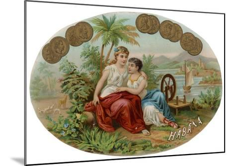 Cigar Label with Idyllic Scene for Havana Cigars--Mounted Giclee Print