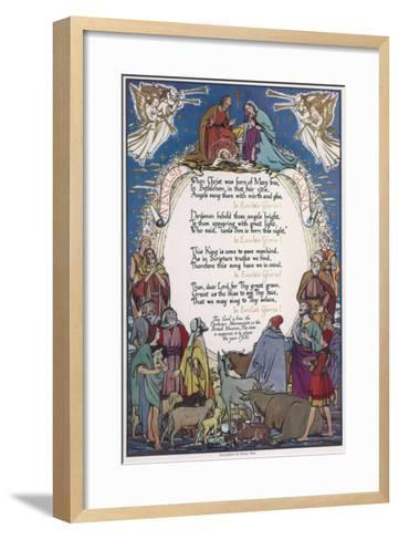 Christmas Carol, 'In Excelsis Gloria!' Illustrated with a Nativity Scene--Framed Art Print