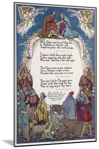 Christmas Carol, 'In Excelsis Gloria!' Illustrated with a Nativity Scene--Mounted Giclee Print