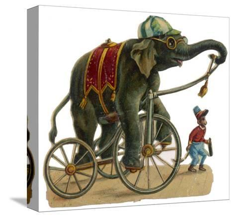 Circus Elephant and Monkey--Stretched Canvas Print