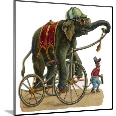 Circus Elephant and Monkey--Mounted Giclee Print