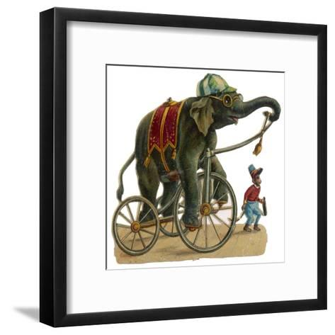 Circus Elephant and Monkey--Framed Art Print