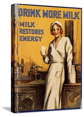 Drink More Milk Poster--Stretched Canvas Print