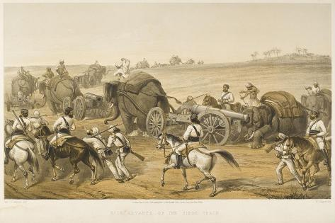 Elephants are Used to Haul Artillery, Forming a 'siege Train', During the Indian Mutiny--Stretched Canvas Print