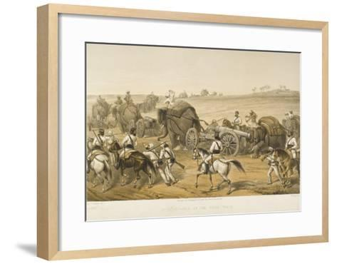 Elephants are Used to Haul Artillery, Forming a 'siege Train', During the Indian Mutiny--Framed Art Print