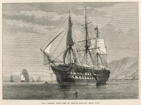 Engraving of H.M.S Gibralter, a Training-Ship for Destitute Irish Boys, Belfast Lough--Stretched Canvas Print