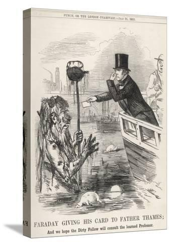Faraday Giving His Card to Father Thames--Stretched Canvas Print