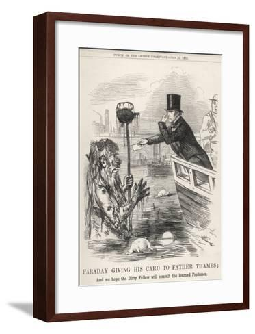 Faraday Giving His Card to Father Thames--Framed Art Print